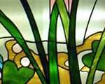 Custom stained glass bay window