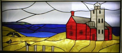 4  stained glass panels for interior windows. These panels were designed to show the horizon looking at lake Huron near the mackinaw bridge.